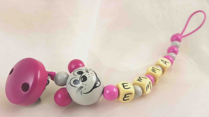 "Schnullerkette mit Name ""3D Maus"" in grau/pink"