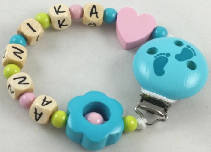 "Schnullerkette mit Name ""Blume & Herz"" in babyrosa/lemon/mint"