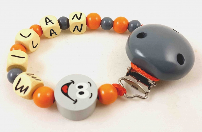 "Schnullerkette mit Name ""Smiley"" in grau/orange"